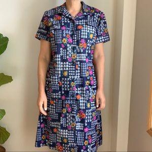 Vtg Midi Dress Floral Print Circa 1970s Blue 8